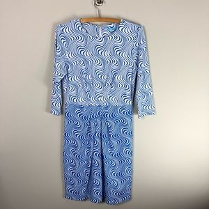 J. McLaughlin Printed Nylon Spandex Dress Blue